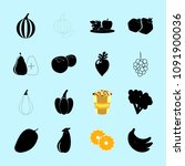 fruit and vegetables icons set | Shutterstock .eps vector #1091900036