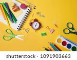 alarm clock  paint  pencils and ... | Shutterstock . vector #1091903663
