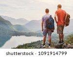 friends hiking in europe  hike... | Shutterstock . vector #1091914799