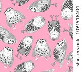 owl doodle collection. | Shutterstock .eps vector #1091918504