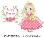 hand drawn beautiful  cute ... | Shutterstock .eps vector #1091918660