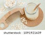 homemade oatmeal hair cleanser...   Shutterstock . vector #1091921639