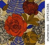 vector floral pattern in doodle ... | Shutterstock .eps vector #1091922686
