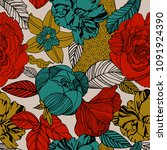 vector floral pattern in doodle ... | Shutterstock .eps vector #1091924390