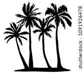 black vector palm tree... | Shutterstock .eps vector #1091926478