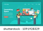 mock up design website flat... | Shutterstock .eps vector #1091928329