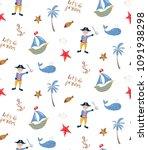 seamless pattern with cartoon...   Shutterstock .eps vector #1091938298