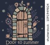 doorway vintage door vector...   Shutterstock .eps vector #1091949824
