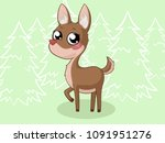 black forest comic deer with... | Shutterstock .eps vector #1091951276