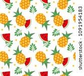 vector color seamless fruit... | Shutterstock .eps vector #1091954183