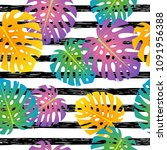 seamless pattern with tropical... | Shutterstock .eps vector #1091956388