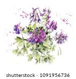 pattern from violets spring...   Shutterstock . vector #1091956736