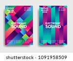 electronic music poster. modern ... | Shutterstock .eps vector #1091958509