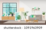 modern interior design of a... | Shutterstock .eps vector #1091963909