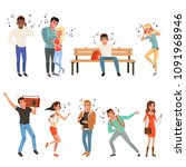 set with people listening music.... | Shutterstock .eps vector #1091968946