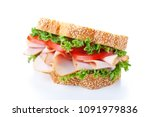 homemade sandwich with smoked... | Shutterstock . vector #1091979836