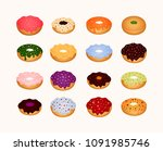 set o donuts and cookies   Shutterstock .eps vector #1091985746