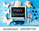 blackboard with maritime... | Shutterstock . vector #1091987720