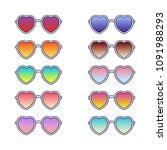 set of heart sunglasses. vector ... | Shutterstock .eps vector #1091988293