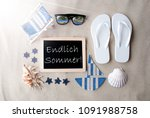 sunny blackboard on sand ... | Shutterstock . vector #1091988758