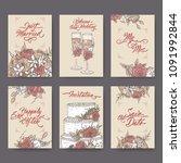 set of 6 vintage wedding cards... | Shutterstock .eps vector #1091992844