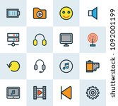 music icons colored line set...   Shutterstock .eps vector #1092001199