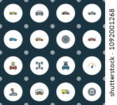 automobile icons colored line... | Shutterstock .eps vector #1092001268