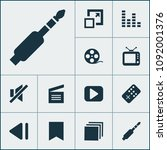 multimedia icons set with begin ...   Shutterstock .eps vector #1092001376