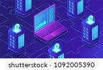 isometric mining farm concept.... | Shutterstock .eps vector #1092005390