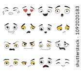 hand drawn set of emoji.... | Shutterstock .eps vector #1092020183