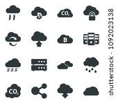 black vector icon set clouds... | Shutterstock .eps vector #1092023138