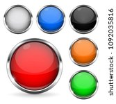 colored buttons with chrome... | Shutterstock .eps vector #1092035816