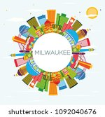 milwaukee skyline with color...   Shutterstock .eps vector #1092040676