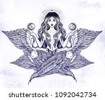 hand drawn romantic six winged... | Shutterstock .eps vector #1092042734
