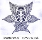 hand drawn romantic six winged... | Shutterstock .eps vector #1092042758