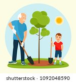 grandfather and the grandson... | Shutterstock .eps vector #1092048590