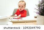hard day. child baby girl... | Shutterstock . vector #1092049790