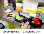 children's toy kitchen with... | Shutterstock . vector #1092050144