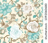 colorful floral pattern.... | Shutterstock . vector #1092060680