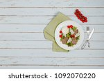 salad from roast beef  tomato... | Shutterstock . vector #1092070220