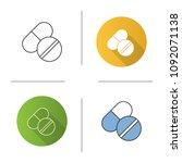 pills icon. medications. flat... | Shutterstock .eps vector #1092071138