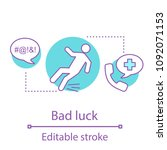 bad luck concept icon. injury... | Shutterstock .eps vector #1092071153