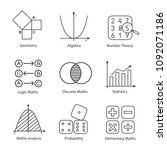 mathematics linear icons set.... | Shutterstock .eps vector #1092071186