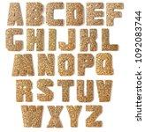 cork.wood alphabet on white... | Shutterstock . vector #1092083744