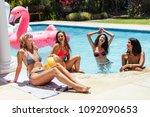 group of young women having fun ... | Shutterstock . vector #1092090653