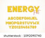 energy sans serif font. vector... | Shutterstock .eps vector #1092090740