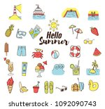 summer doodle cartoon icons.... | Shutterstock .eps vector #1092090743