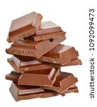 cubes of chocolate isolated on...   Shutterstock . vector #1092099473