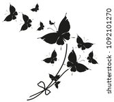 black butterfly  isolated on a... | Shutterstock .eps vector #1092101270
