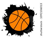 orange basketball ball in black ... | Shutterstock .eps vector #1092106013